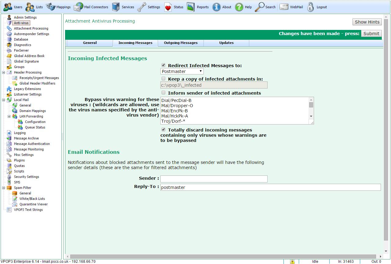 Antivirus Incoming Messages Tab