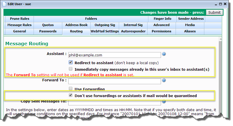 VPOP3 Manual - Forwarding messages